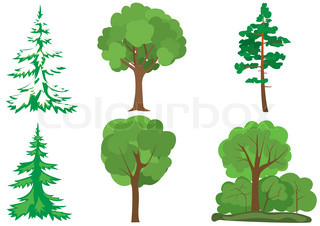 set of vector green trees