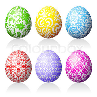 Collection of easter eggs on white background.