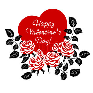 Happy Valentine's Day card with red roses and heart.