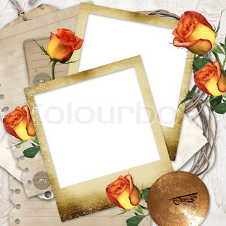 Blank photo frames on wallpaper background with old paper, flowers, watch