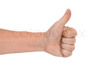 mænds hånd gøre thumbs up isoleret over hvide
