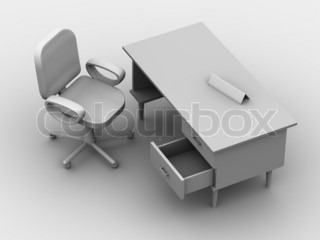 Chair and table. 3d