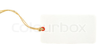 Higly Detailed White Price Tag Isolated on White. Ready for your message.