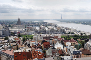 bird's-eye view from Riga cathedral on Old town and Daugava river. Riga, Latvia