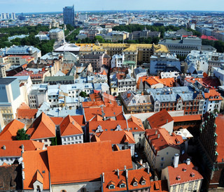 bird's-eye view from Riga cathedral on old town of Riga, Latvia