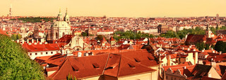 Prague roof tops, panorama.  Czech Republic