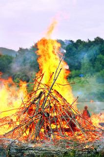 very big burning bonfire in the Carpathian Mountains
