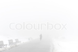 Silhouette of people walking in a foggy winter park