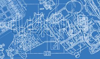 teknisk tegning eller plan på blå baggrund