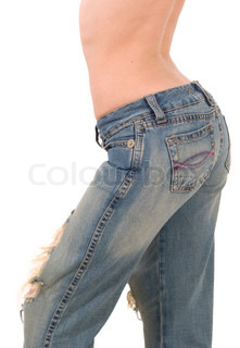woman in old jeans on white