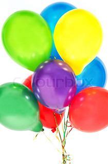 colorful balloons on white background. party decoration