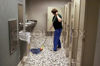 Toilet cleaning in a public building