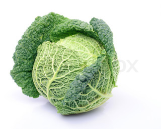 One curly cabbage yield isolated on white background.