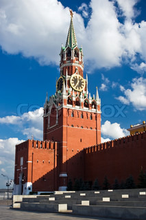 Famous Spasskaya tower with its ruby star, Moscow. Russia