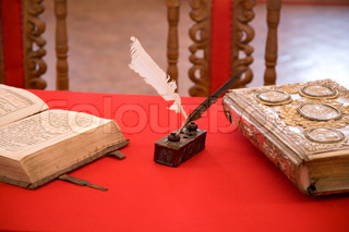 Old Style Writing Objects on the Table