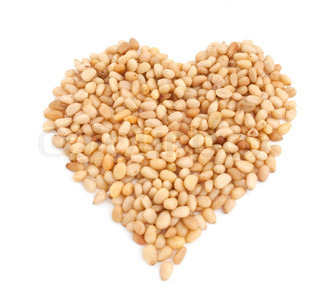 Pine nuts texture - heart