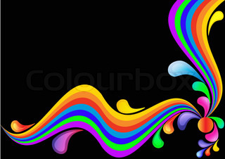 illustration background black with rainbow and drop