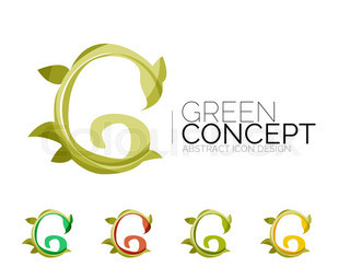 Set of abstract eco plant icons, business logotype nature green concepts, clean modern geometric design