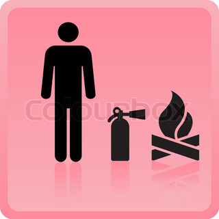 Icon of the person with the fire extinguisher near a fire