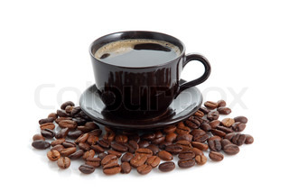 Cup of coffee and beans on white background