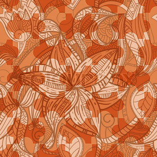 vector seamless puzzle floral vintage texture in brown, eps10, clipping masks