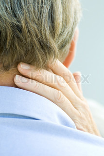 ©Michèle Constantini/AltoPress/Maxppp ; Cropped rear view of hand touching man's neck