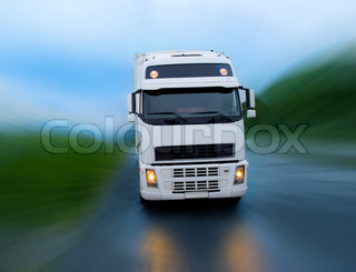 Motion of truck on the night road