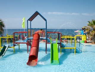 water playground in swimming pool in sea resort