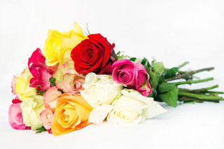bouquet of fresh multicolor roses
