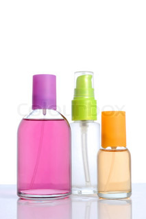 Perfume in bottle over white background