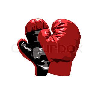 Isolierte rote Handschuhe für Boxen