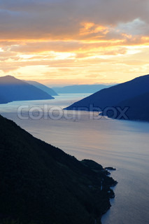 Aerial view of Norwegian fjords at sunset