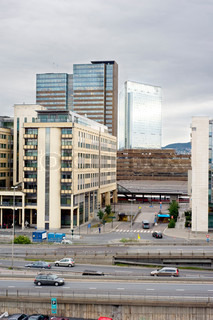 Oslo business centre in the morning . Norway