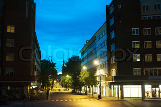 Empty Oslo street in the city center at night. Norway