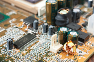 electronic components on the electronic board