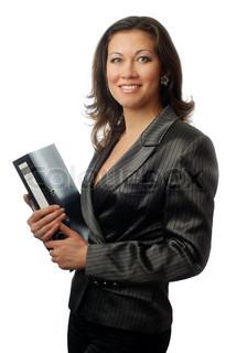 Foto af unge succesfuld forretningskvinde med mappe