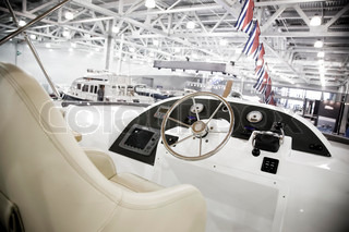 Front Side Of A Big Yacht: Control Board And Chair