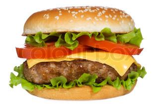 Hamburger mit Gemüse auf weißem Hintergrund
