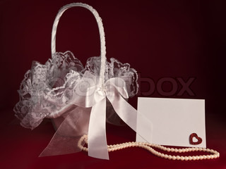 Bridal flower basket with pearl beads and invitation card