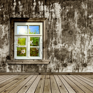 abandoned room with a window overlook the garden