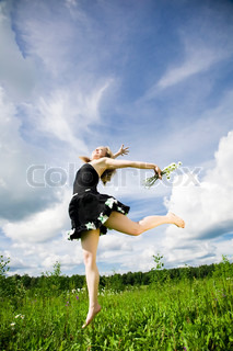 I Can Fly. Happy Active Woman On The Meadow.