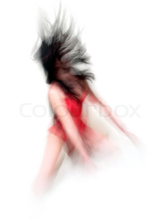 Abstract blurred motion girl on white background.