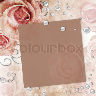 Card for invitation or congratulation with roses and pearls