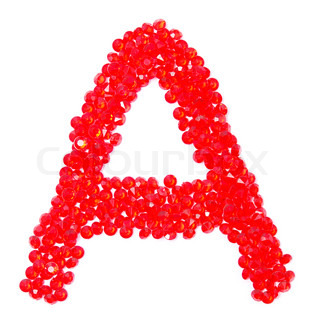 letter from beautiful red diamonds on a white with shadow