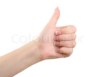 Female hands shows gesture thumbs up isolated on white background.