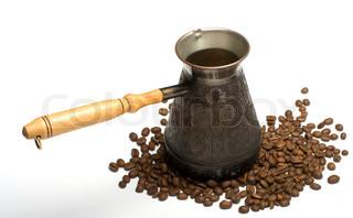 alte kaffee topf auf wei em hintergrund stock foto. Black Bedroom Furniture Sets. Home Design Ideas