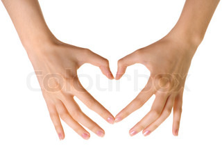 Heart made of hands isolated on white background
