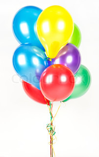colorful air balloons on white background. party decoration