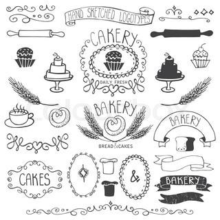 Vintage Bakery Labels Element SetHand SketchedOutline