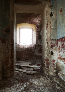 inside the ruins of an abandoned rural church